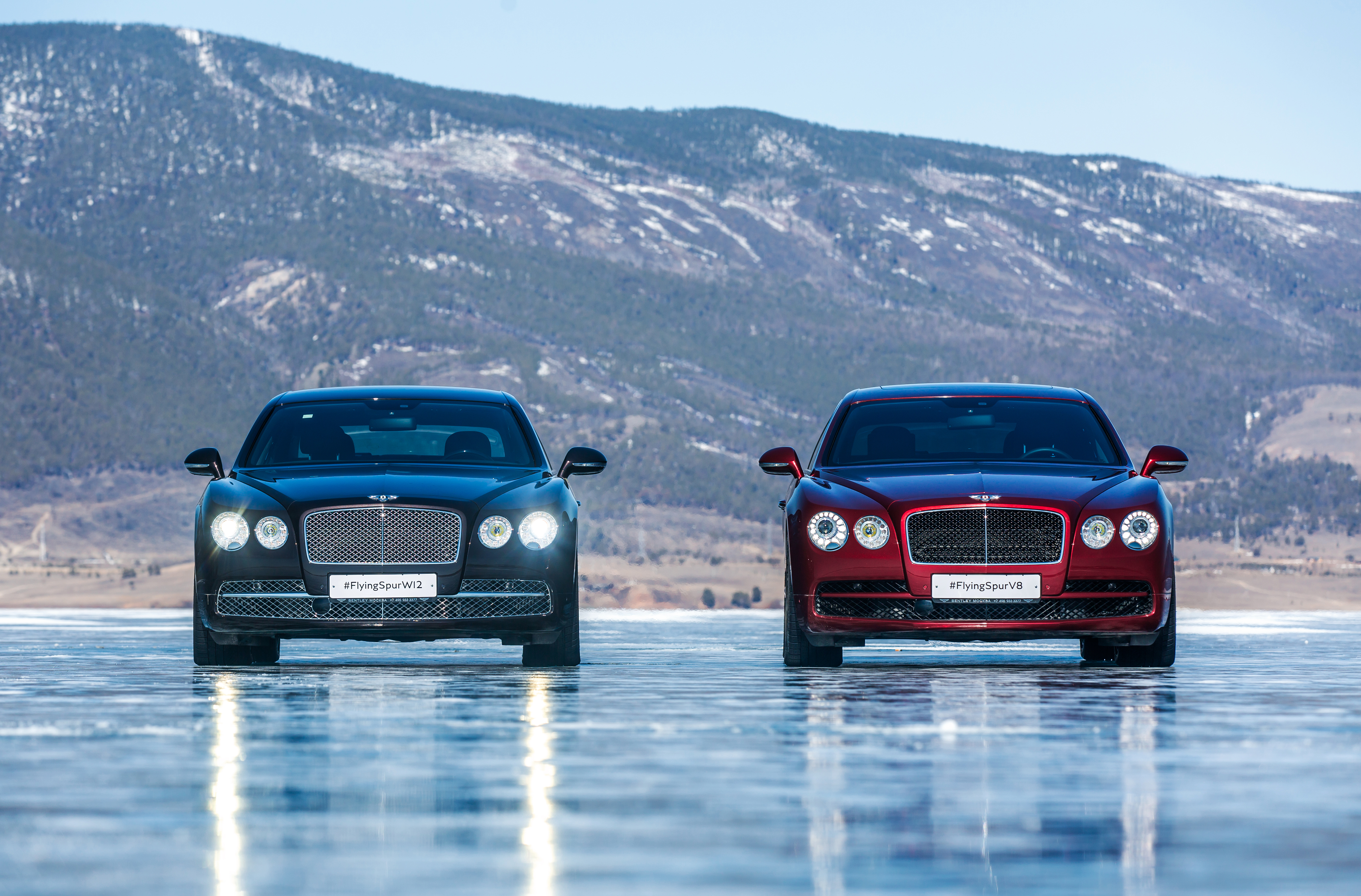 Flying Spur Family W 12 and V8 on Baikal Ice